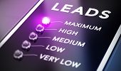 image of maxim  - Lead generation concept Illustration of internet marketing over black background with purple light and blur effect - JPG