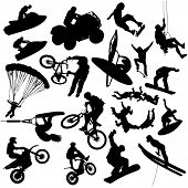 stock photo of jet-ski  - Vector extreme sports silhouettes  - JPG