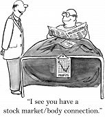 image of feeling better  - The sick man is feeling better now that the stock market it up - JPG