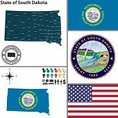 stock photo of south american flag  - Vector set of South Dakota state with flag and icons on white background - JPG