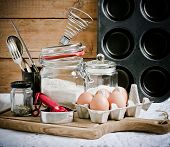 picture of cake-mixer  - Baking cake ingredients and cooking tools - JPG