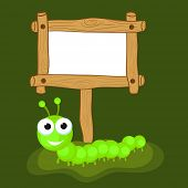 foto of green caterpillar  - Funny cute cartoon of a centipede in green color with blank wooden board over green background - JPG