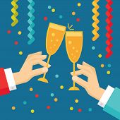 pic of champagne glasses  - Holiday vector concept illustration in flat style - JPG