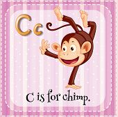 stock photo of chimp  - Illustration of a letter C is for chimp - JPG