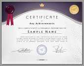 picture of certificate  - Vintage certificate template with purple border and golden elements on dotted paper in vector - JPG