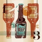 pic of silkscreening  - Vintage grunge style poster with a beer bottles - JPG