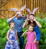pic of bunny ears  - A funny family portrait on Easter of a mother and father wearing bunny ears and holding up silly eyes made from eggs as their children pose eating carrots outside in a garden during the spring season - JPG