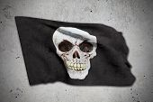 picture of pirate flag  - 3d rendering of an old pirate flag - JPG