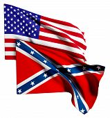 stock photo of confederate flag  - 3d rendering of an united states and confederate flags - JPG