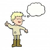 foto of attitude boy  - cartoon poor boy with positive attitude with thought bubble - JPG