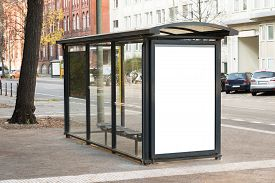picture of bus-shelter  - Empty Bus Stop Travel Station In City - JPG