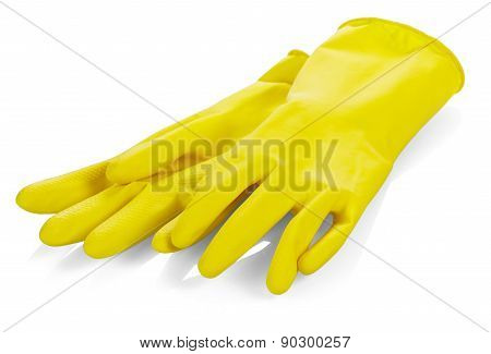 Yellow latex gloves