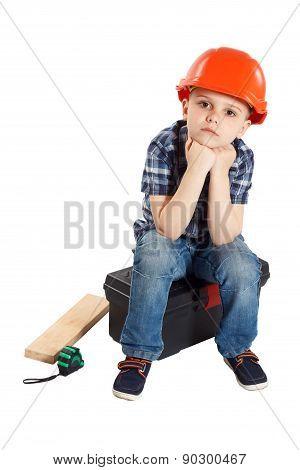 Boy In The Construction Helmet