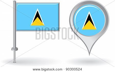Saint Lucia pin icon and map pointer flag. Vector