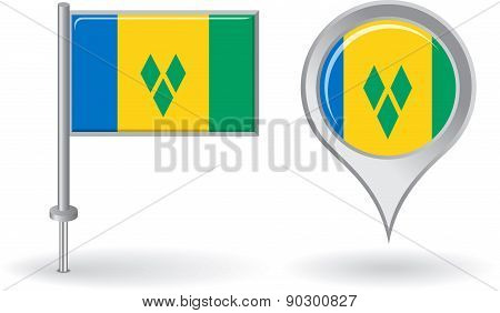 Saint Vincent and the Grenadines pin icon, map pointer flag. Vector