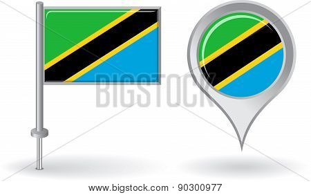 Tanzanian pin icon and map pointer flag. Vector