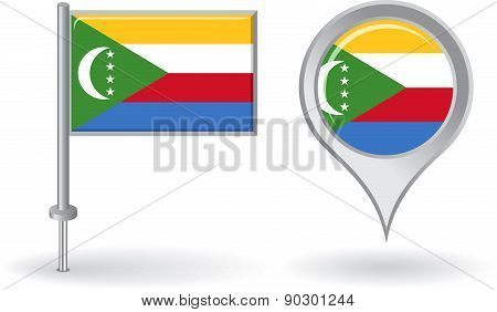 Comoros pin icon and map pointer flag. Vector