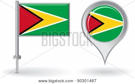 Guyana pin icon and map pointer flag. Vector