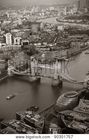 London rooftop view with Tower Bridge with urban architectures.