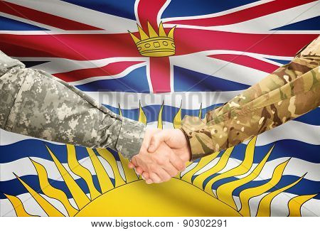 Military Handshake And Canadian Province Flag - British Columbia
