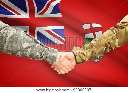 Military Handshake And Canadian Province Flag - Manitoba