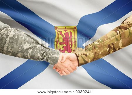Military Handshake And Canadian Province Flag - Nova Scotia