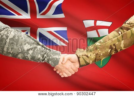 Military Handshake And Canadian Province Flag - Ontario