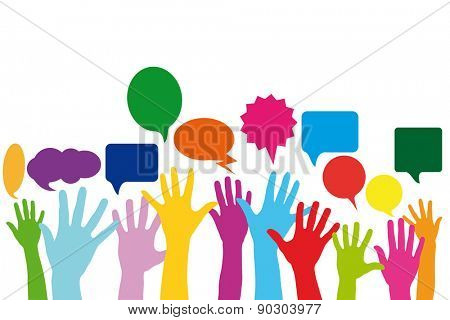 Many different abstract hands with speech bubbles as social media concept