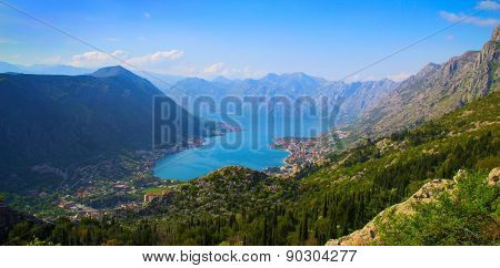 Top View Of The Picturesque Bay Among Mountains