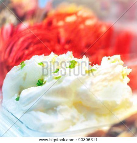 Delicious White And Red Ice Cream Gelato