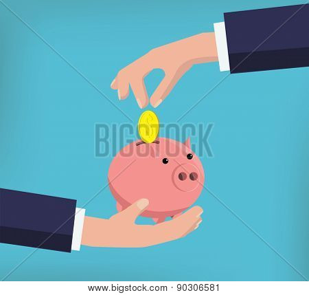 Coins falling in pig coin bank flat vector illustration
