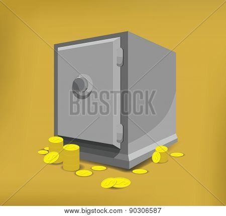 Closed Safe on floor and coins. Vector illustration