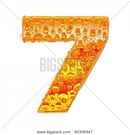 Fresh Orange alphabet symbol - digit 7. Water splashes and drops on transparent glass - color of brandy , cognac, liquor, cola, beer or tea. Isolated on white
