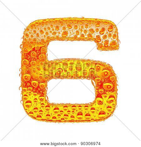 Fresh Orange alphabet symbol - digit 6. Water splashes and drops on transparent glass - color of brandy , cognac, liquor, cola, beer or tea. Isolated on white