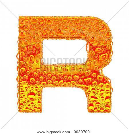 Fresh Orange alphabet symbol - letter R. Water splashes and drops on transparent glass - color of brandy , cognac, liquor, cola, beer or tea. Isolated on white