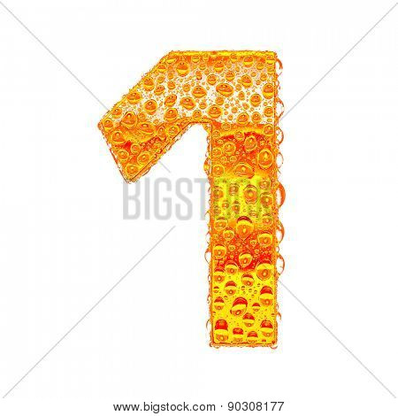 Fresh Orange alphabet symbol - digit 1. Water splashes and drops on transparent glass - color of brandy , cognac, liquor, cola, beer or tea. Isolated on white