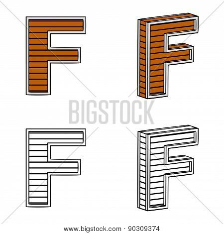 Letter F (a Block Of Wood)