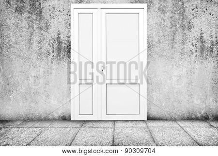 Grunge room and plastic door inside