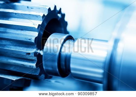 CNC turning, drilling and boring machine at work close-up. Industry, industrial concept.