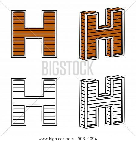 Letter H (a Block Of Wood)