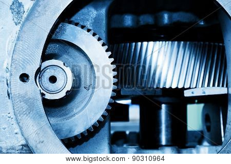 Gear machine elements close-up. Industry, industrial concept.