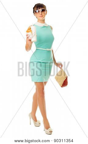 Glamorous girl with plastic cup and snacks isolated