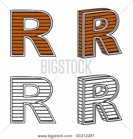 Letter R (a Block Of Wood)