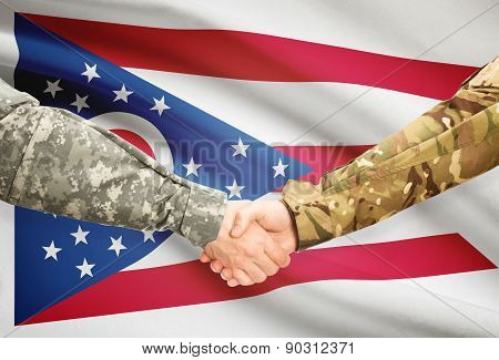 Military Handshake And Us State Flag - Ohio