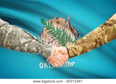 Military Handshake And Us State Flag - Oklahoma