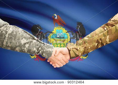 Military Handshake And Us State Flag - Pennsylvania