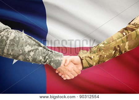 Military Handshake And Us State Flag - Texas