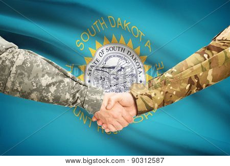 Military Handshake And Us State Flag - South Dakota