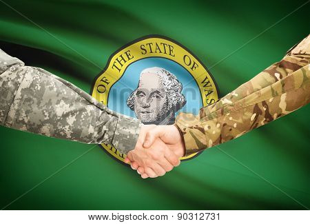 Military Handshake And Us State Flag - Washington