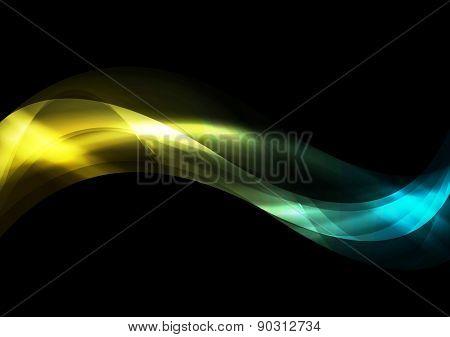 Dark smooth iridescent waves background. Vector design